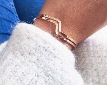 Bracelet, Bangle two waves - plate gold 750/000