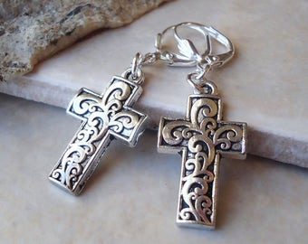 Cross Dangle Earrings.Metal Earrings.Drop Earrings.Statement.Bridal.Bohemian.Religious.Spiritual.Confirmation.Christian.Gift. Handmade.