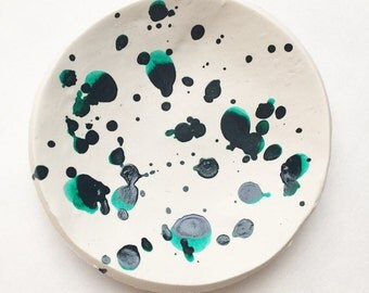 Teal Speckled Ring Dish