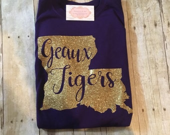 Louisiana Geaux Tigers Tee Shirt, LSU Monogrammed Shirt