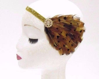 Brown Gold Feather Headband 1920s Flapper Headpiece Great Gatsby Vintage 2906