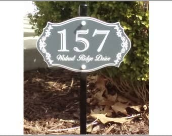 """Custom House Number & Street Name Lawn Sign with 30"""" aluminum stake - FREE SHIPPING"""