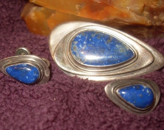 Sterling Silver Lapis Pin and Earring Set