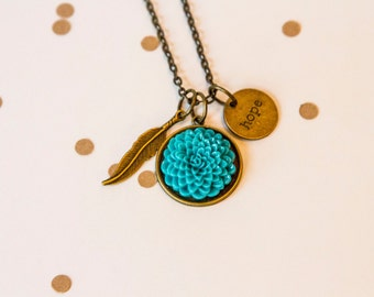 Teal Dahlia Long Necklace, Teal Necklace,Dahlia Necklace , Teal Dahlia ,Feather Necklace, Bridesmaid Gift, Hope Necklace, Words, Feather