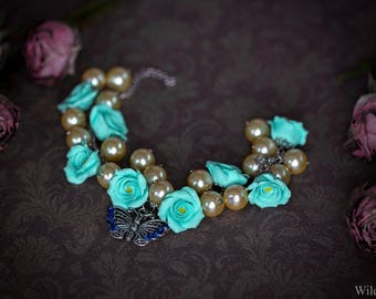Bracelet in polymer clay hand-made roses