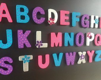 Alphabet magnetic letters; ABC wood magnets; Fridge magnets; Kids gifts; ABC learning; Turquoise, Pink, & Purple with flowers and polka dots