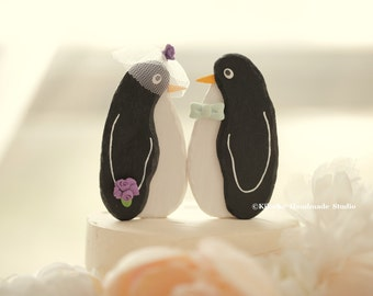 penguins wedding cake topper ,Handmade penguins cake topper,Handcrafted wood penguins  doll