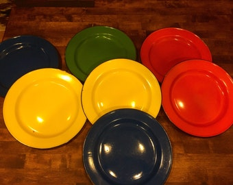 Set of 7 Vintage Colorful Enamel Plates