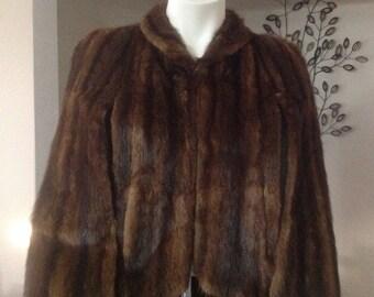 Vintage 1950's Brown Fur Cape, Fur Cape, Vintage Fur Coat, Fur By Broglen's Furriers, Rochester, New York, Short Fur Jacket, Fur Jacket