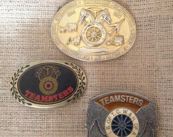 Collection of Vintage Teamsters Belt Buckles, Vintage Belt Buckle Lot, Vintage Teamsters, Brotherhood of Teamsters Collectibles, Truckdriver