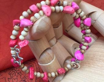 Pink Boho Bangle, Pink Boho Bracelet, Boho Bangle, Pink Bangle, Boho Bracelet, Pink Bracelet, Boho Jewelery, Wooden Bead Bracelet