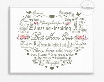 Mom Printable / Gift for Mom / Mothers day card / 8x10 / Word Art / Mothers Day Gift / Birthday Gift / Shabby Chic / Mom Gift / Mom present