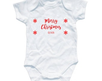 Personalised Merry Christmas Baby Grow - First Christmas Day Perfect Gift for a special Xmas, lovely keepsake, (PBG1004)