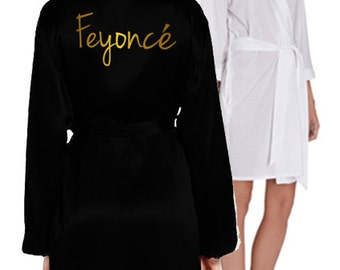 Personalised 'Feyonce' Gown - Your wedding date, white & black, various text colours. Perfect Hen Party/Wedding gift! (PDG107)