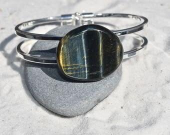 Blue Tiger's Eye Stone Silver Bangle Cuff Bracelet