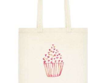 Pink Cupcake Tote Bag, Reusable Cotton Grocery Bag