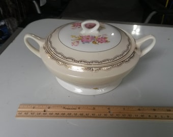 Vintage French Saxon China Bowl with Lid