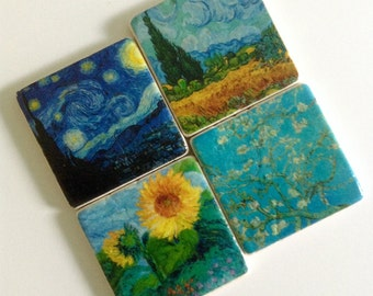 Van Gogh Famous Paintings Coasters - Natural Stone Tile - Fine Art - Home Decor - Housewarming - Hostess Gift - Set of 4