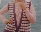 Knitting Pattern Womens Ladies Twin Set Jumper and Short Sleeved CardiganGilet DK 3240 Vintage