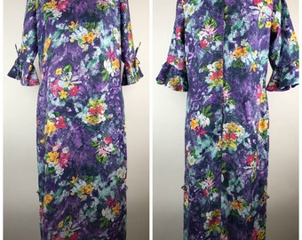 Vintage Tiki Shop Womens Purple Polyester Hawaiian Dress Luau Bell Sleeve 14 maxi Full Length Floral