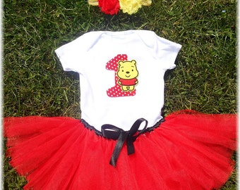Winnie Pooh First Birthday Tutu Outfit, Winni Pooh Photo Prop, Winnie Smashing the cake outfit
