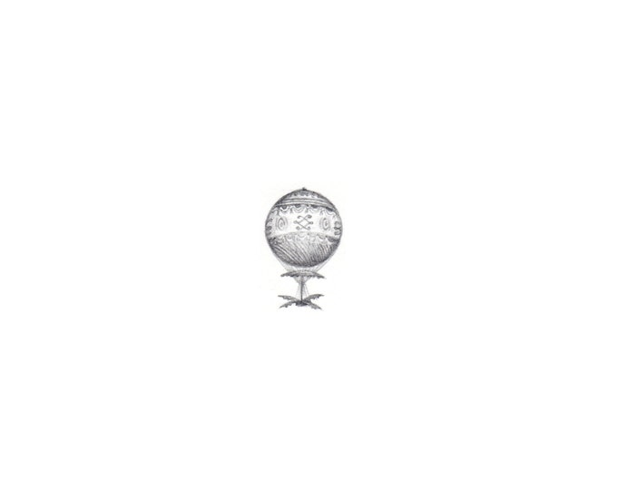 Print of Miniature painting of a Vintage Steam PunK Dirigible, tiny painting Hot Air Balloon art 5 x 5