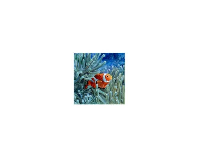 Original Miniature painting of a Clown Fish (Nemo). Tiny painting, Nemo  tiny art 5 x 5