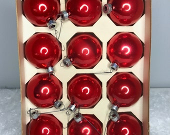 10 red vintage mercury glass Holly brand Christmas ornaments in original box