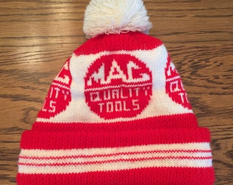 Vintage MAC Tools Red and White Knit Winter Hat with Pom Pom- FREE SHIPPING