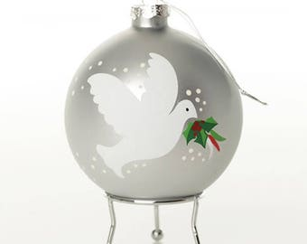 Silver Peace Doves Christmas Bauble