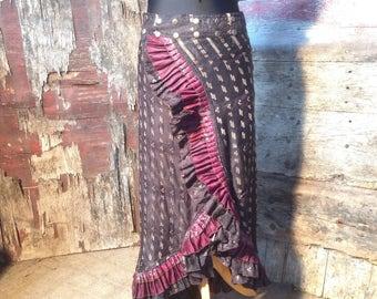 New! S-M STARRY SKY, Flamenco Ruffle Skirt, Silk Sari, Tribal, Burning Man, Belly Dance, Bohemian, ATS, Steam Punk, Gypsy, Festival, Barocco