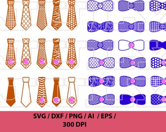 Bow Tie SVG file, Bow clipart, Tie svg, Neck Tie, Tie cutting files, Patterned tie and bow SVG, Tie Monogram Frames, Neckties svg