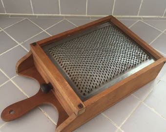 Antique vintage  extra large wood and tin box grater