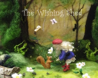 Friendship - Art Print The Wishing Shed Girl Red Squirrel Flower Daisy picture needle felt art scene