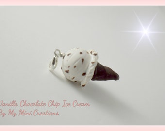 Vanilla Chocolate Chip Ice Cream Charm , Miniature Food, Food Jewelry, Miniature Food Jewelry, Ice Cream Charm