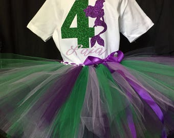 Girl's fourth birthday outfit, 4th Birthday tutu, Mermaid Birthday, 4 years old shirt, girls outfit, birthday set, 4th birthday outfit