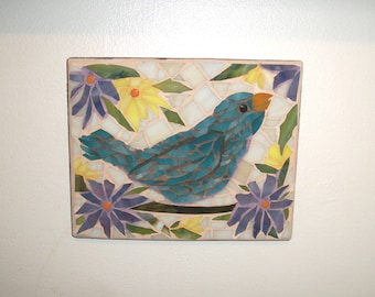 6.5X8 Hand made Glass on Wood Bird Mosaic,Bluebird,Yellow and purple flowers,daisies,birds,wall art plaque,picture,pastel,beige,brown