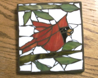 6x5.75 inch Red Cardinal Bird Mosaic Wall Art Plaque,glass on wood,hand cut,male birds,cardinals,brown grout,nature