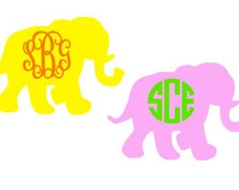 Elephant Monogrammed Sticker