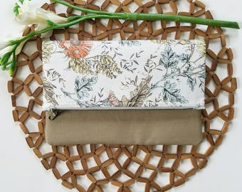 "The ""Kate"" fold over clutch, floral zipper pouch, iPad sleeve, wildlower, boho floral"