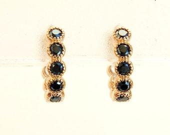 Gold Hoop Earrings, Black CZ Hoop Earrings, CZ Hoops, Gold Hoops, Gold Earrings, CZ Earrings, Small Hoops, Small Earrings