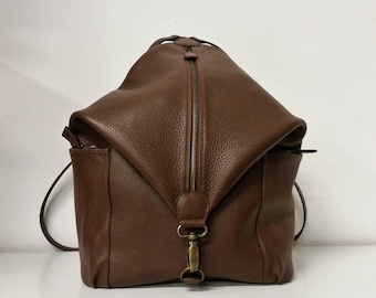 Brown leather backpack. Rucksack Brown