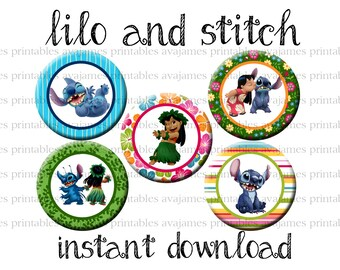 Instant Download - Lilo and Stitch Bottle Cap Image Sheet