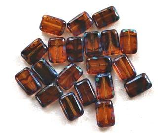 Lot of ten rectangular rustic translucent Tortoiseshell, Brown, Picasso Czech glass rectangle beads, 12mm x 8mm, C0701