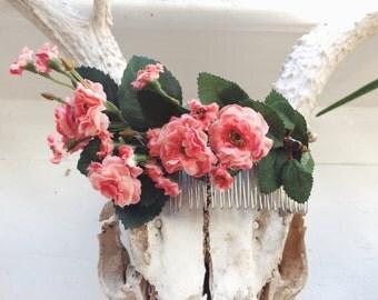 Pink Pompom Rose Floral Comb