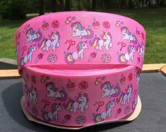 Unicorn Ribbon, Pink Unicorn Ribbon, Unicorn Character Ribbon, 2 inch wide Ribbon ,Unicorn Birthday, Unicorn Hair Bow