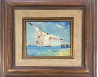 """Vintage Signed Original Oil Painting """"Seagull Over the Pacific Shores"""" by Grace Edwards"""