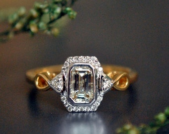Emerald Cut Engagement Ring. 0.52 Ct Emerald Cut Diamond Solitaire Ring. 14K Gold Diamond Halo Ring. Infinity Edwardian Engagement Ring