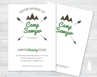 camping invitation, camping party birthday invitation, backyard birthday invitation, camping invitation, camping birthday invite