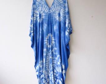 Shibori bird wing Maxi dress.A002 Indigo/Tie Dye/Caftan Maxi Dress/Beach Cover Up/Kaftan